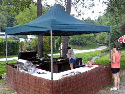 Setting up the grill for a corporate event