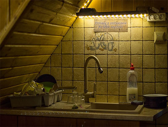 Sink next to the kitchen annex in the hostel
