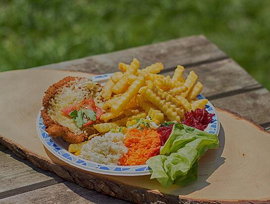 Kurczak w panierce z frytkami i bukietem surówek, Domowe jedzenie