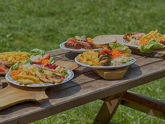 Jedzenie z grillbaru na polu campingowym, Domowe jedzenie